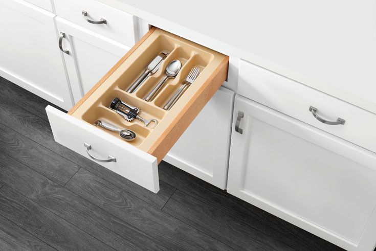 Get rid of cluttered drawers with Rev-A-Shelf's Cutlery Trays. The CT/GCT Series is available in four styles and four size variations with rubberized polystyrene to allow easy trimming for a perfect fit in any drawer. Rev-A-Shelf CT-1-11-52