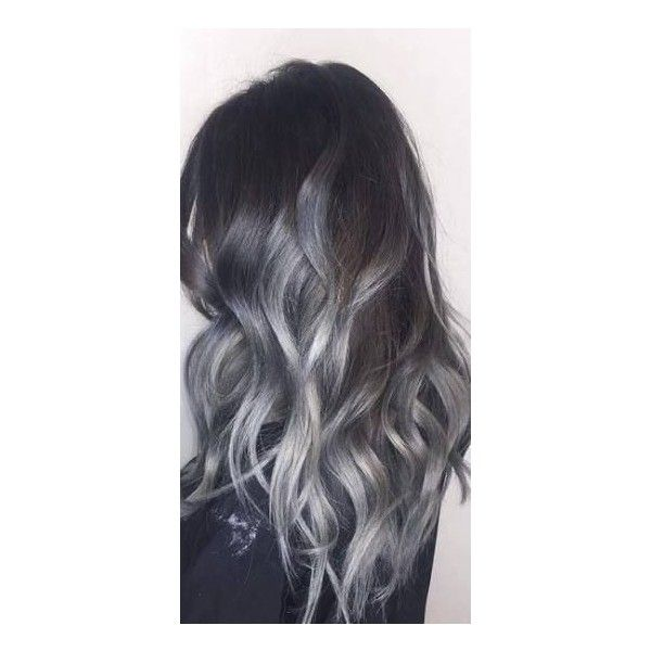 Gray Ombre wig. Gray color hair Long curly hairstyle with long side... ❤ liked on Polyvore featuring beauty products, haircare, hair styling tools, hair and curly hair care