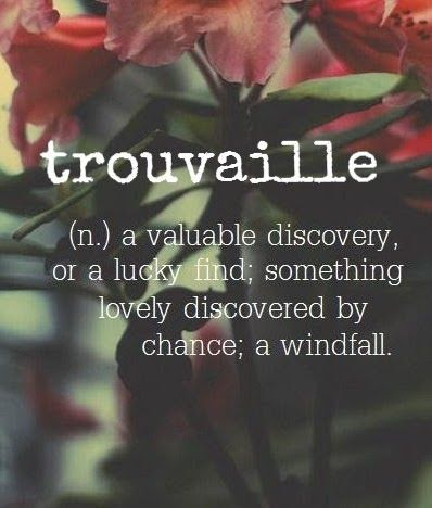 Trouvaille ~ (n.) a valuable discovery, or a lucky find. ✿