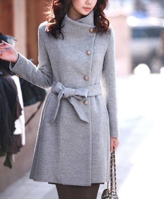 women's Fitted Wool autumn winter Pashm Coat jacket / dress Wool Jacket Women Coat grey Coat S-XL