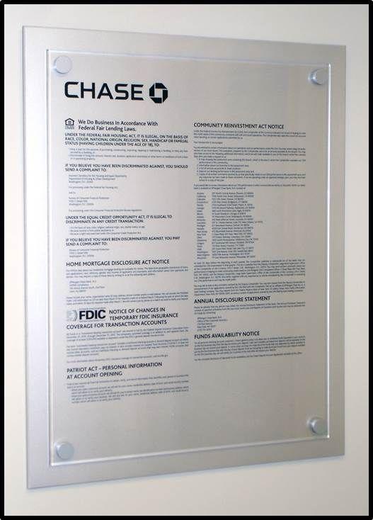 Chase Bank Acrylic Sign | Custom Silk Screened | Custom made by www.sharndisplays.com
