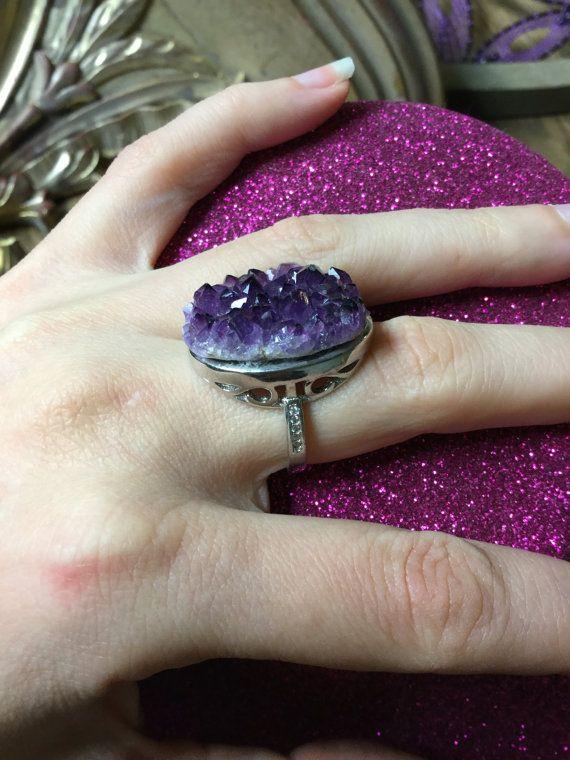 Anello regolabile 'Amethyst' cristallo e argento Druzy viola