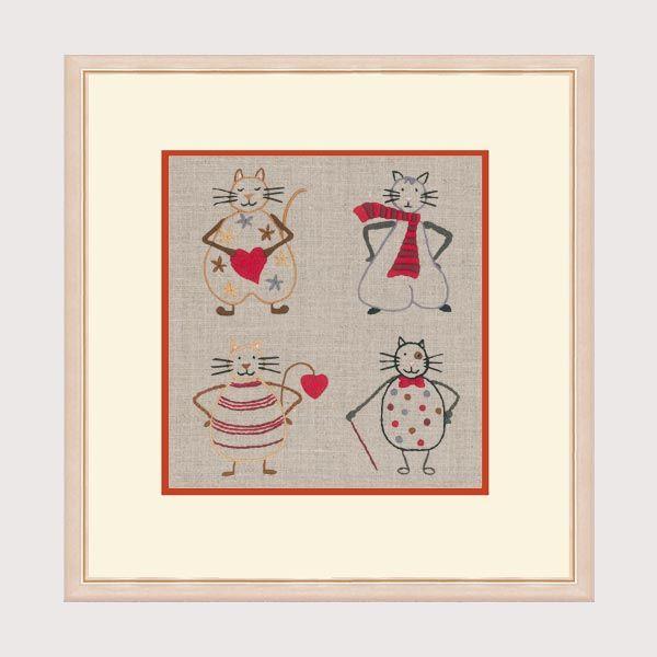 Chats Bonheur des Dames broderie traditionnelle, kit imprimé réf. 1520 Cécile Vessière