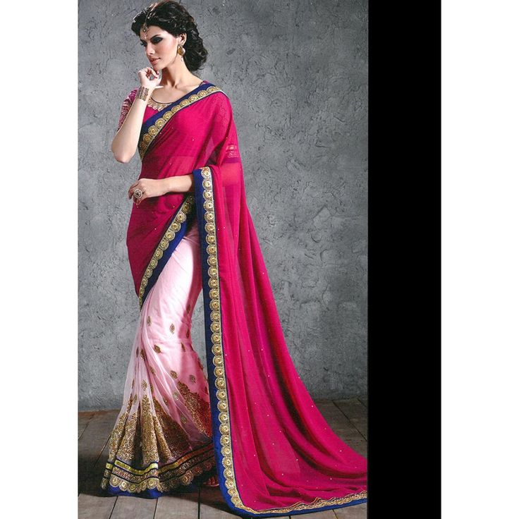 Designer Nirvana Pink & Magenta Embroidery Georgette Saree with Blouse at just Rs.2025/- on www.vendorvilla.com. Cash on Delivery, Easy Returns, Lowest Price.