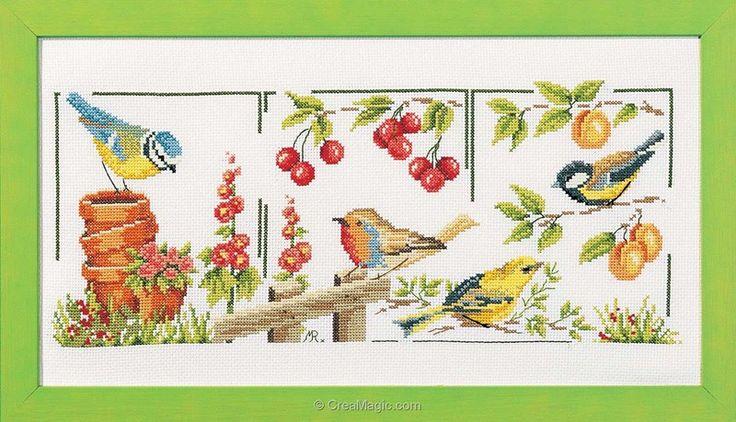 Point de croix à broder Oiseaux de jardin sur toile aida kit broderie de Marie Coeur 4365  love this.  Might actually do it!