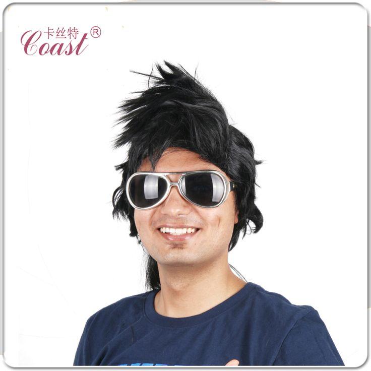 Мужские Черные Панк-Рокер Парик элвис парик Синтетические короткие волосы Мужские Полные Парики + Волосы Нэ без glassest QY-923135