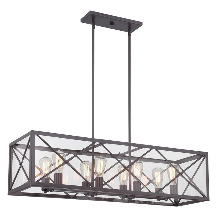 High Line Satin Bronze Eight Light Linear Chandelier Designers Fountain Island Pendant Lig