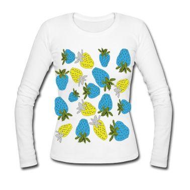blaue erdbeeren,blue strawberries Langarm-Shirt   Spreadshirt   ID: 22987740