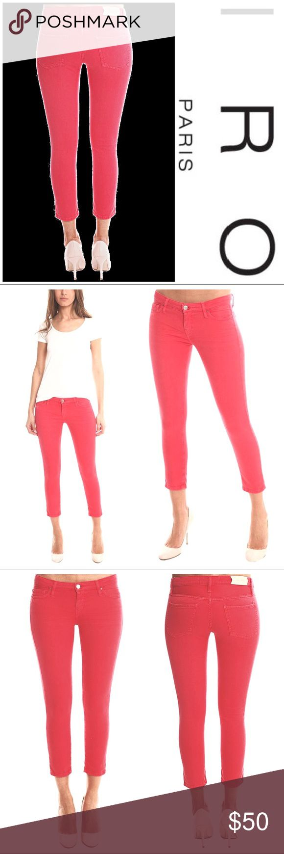 IRO Alyson Ajuste Skinny Crop Jean This cropped skinny comes in a pinkish/red shade that is mute enough for Fall/Winter yet bright enough for Spring/Summer. The intentionally faded look makes it the perfect colored denim staple for every season! Distressed sueded leather designer label, above back right pocket, embossed with 'IRO'. 98% Cotton 2% Elastane. Model is 5'9' wearing size 36. IRO Jeans Skinny