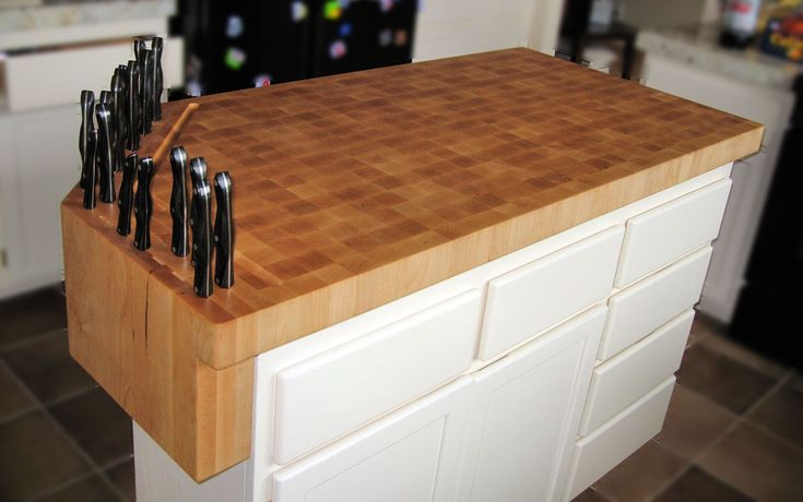 DeVos Custom Woodworking - Hard Maple Wood Countertop Photo Gallery  ****want you to look at the way they integrated the knife block on the end so it would free up more space for prepping.