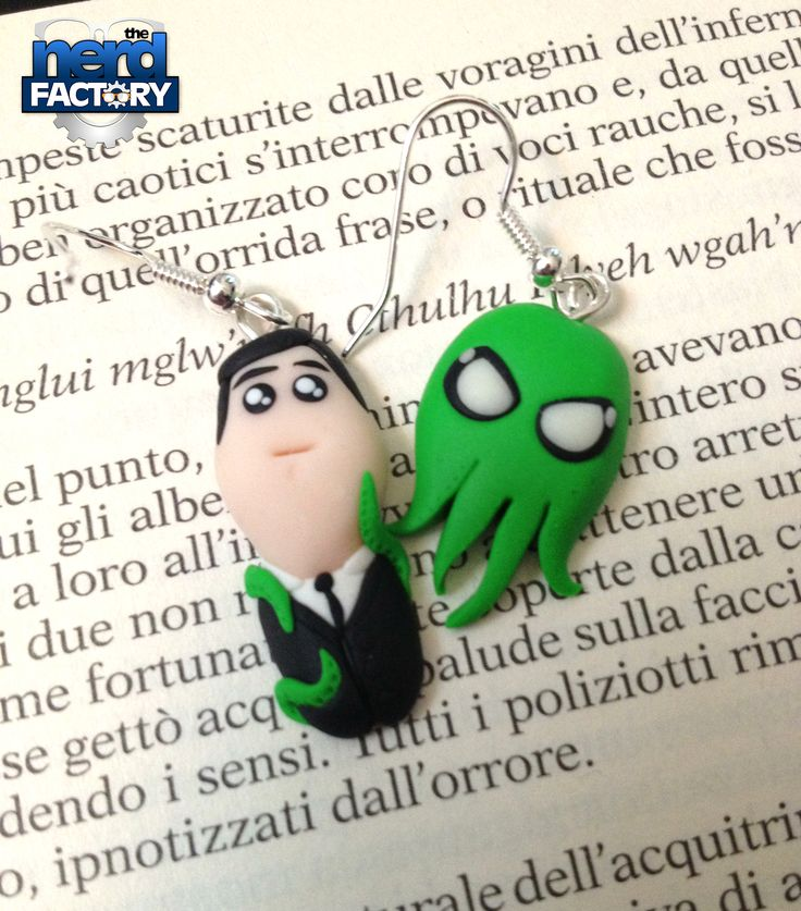 Little Lovecraft and his friend LORD CTHULHU fimo earrings!