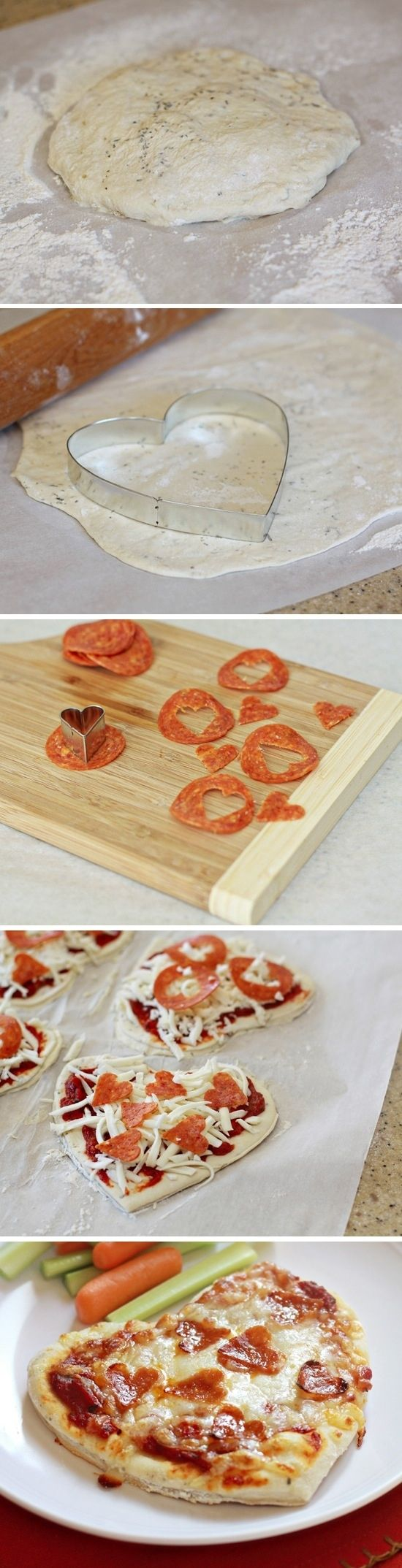 Heart-Shaped Mini Pizzas with Heart-Shaped Pepperonis   29 Fun Food Crafts To Make For Someone You Love