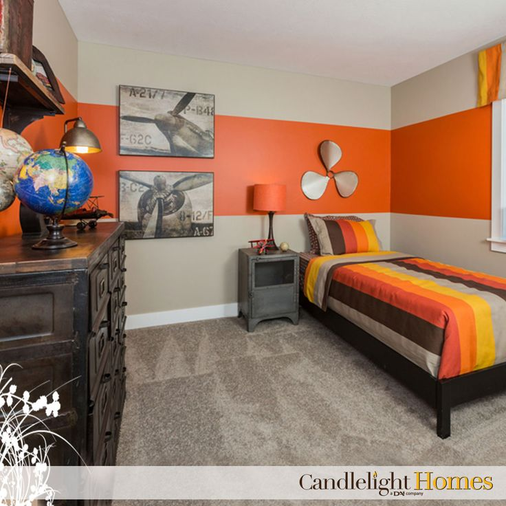 Candlelight Homes Utah Bedroom Kids Room Tan Carpet Orange Bedroom