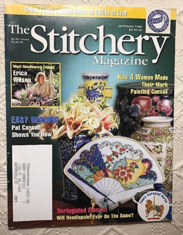 The Stitchery Magazine Cross Stitch Erica Wilson Needlepoint Pillow Back Issue  | eBay