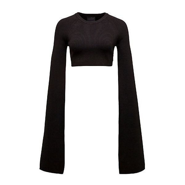 Puma SUPER LONG SLEEVE CREW NECK CROP TOP (£130) ❤ liked on Polyvore featuring tops, crew top, crew neck tops, sexy white tops, cut-out crop tops and long sleeve crop top
