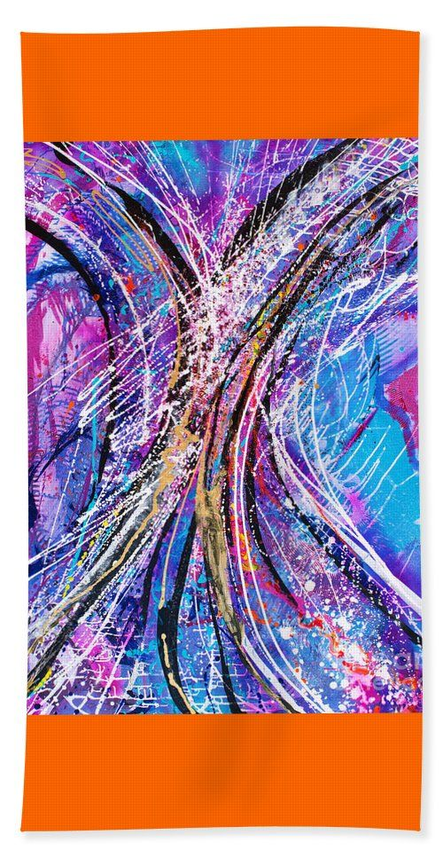 Original Contemporary Energetic Free Spirited Spontaneous Vibrant Abstract Dramatic Dynamic Beach Sheet featuring the painting Caboodle by Expressionistart studio Priscilla Batzell
