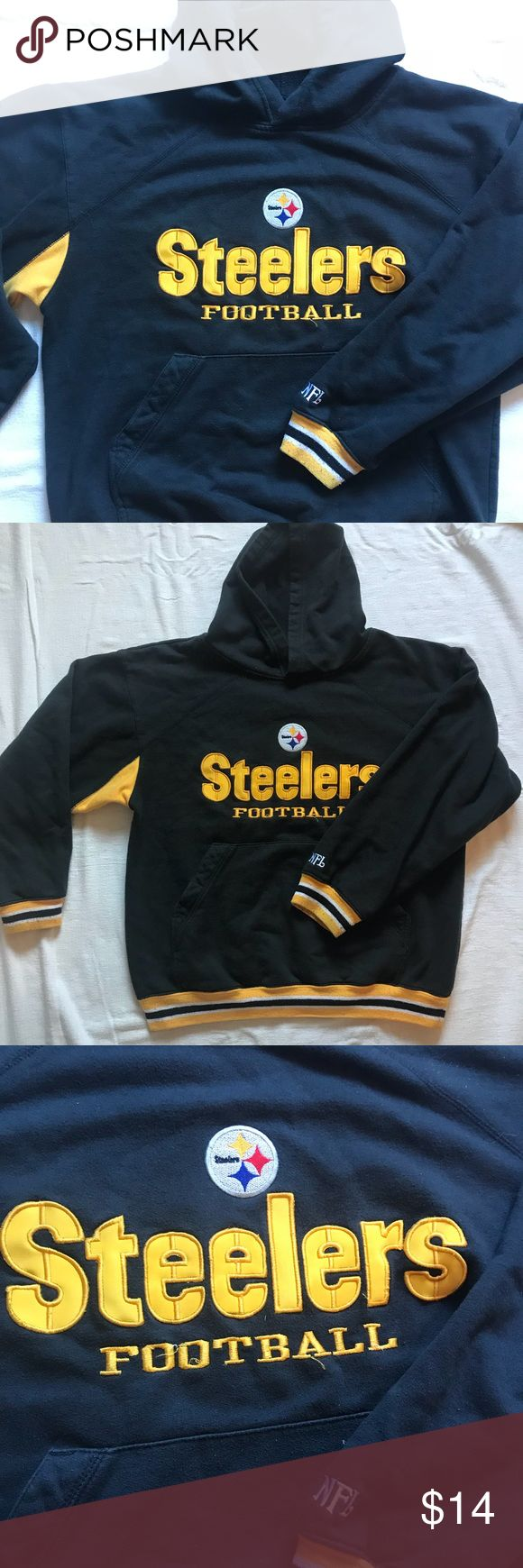 Vintage NFL Steelers hoodie Vintage NFL Steelers hoodie. In good condition. the tag was cut off however I would say it's about a size kids L or adult S. Black and yellow black and yellow black and yellow Other
