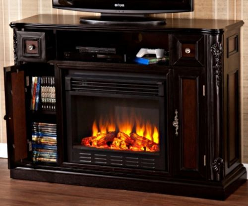 Electric-Fireplace-Media-Center-Black-TV-Stand-Entertainment-Solid-Wood-Storage
