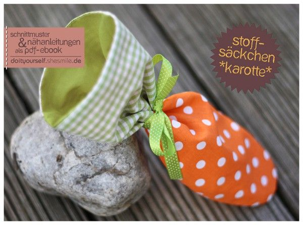 "Stoffsäckchen ""Karotte"" (Nähanleitung & Schnittmuster)"