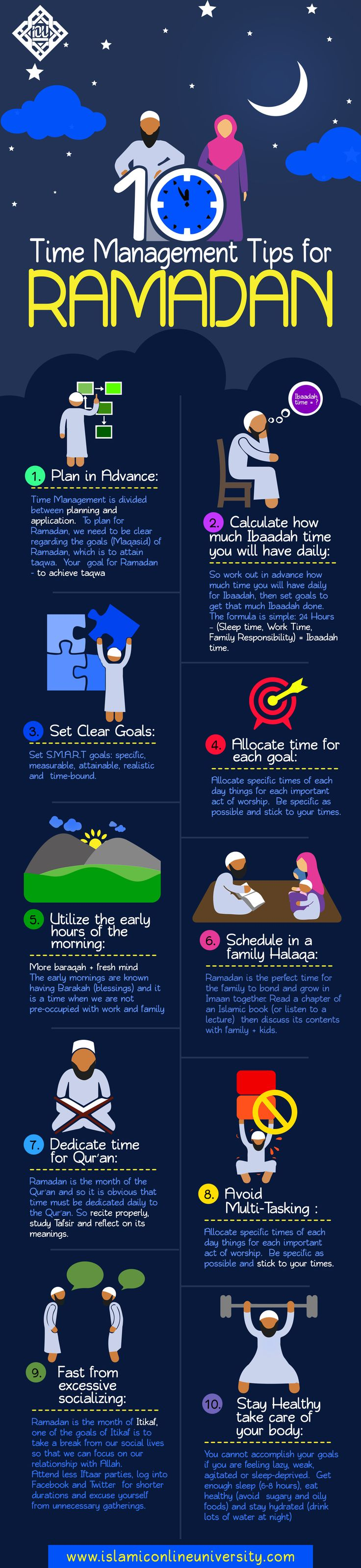 Time Management tips for #Ramadan http://greatislamicquotes.com/ramadan-quotes-greetings-wishes/