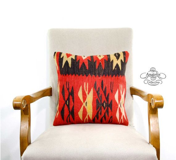 Vintage Kilim Rug Pillow Turkish Decorative By