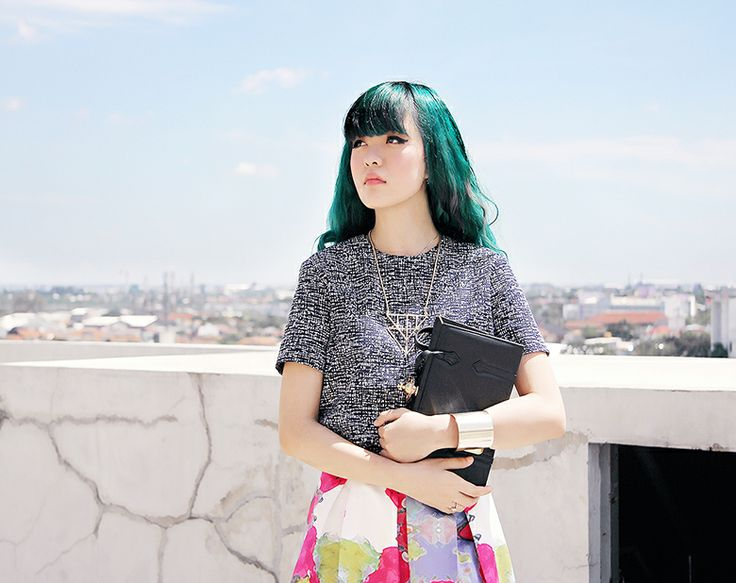 Sonia Eryka, GAP boxy top, N.F.R.T printed skirt, vintage coat, Vivianne Westwood clutch, Balenciaga heels