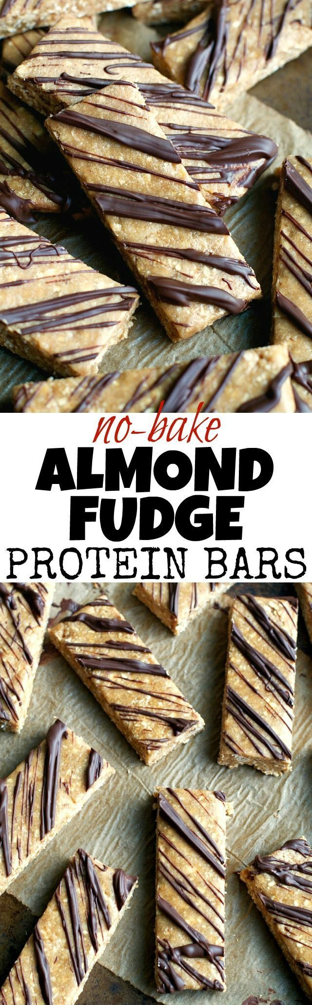 Give store-bought protein bars a run for their money with these soft and fudgy No Bake Almond Fudge Protein Bars! They're gluten-free, refined-sugar-free, vegan, and make a delicious healthy snack! | runningwithspoons... #healthy #snack #recipe