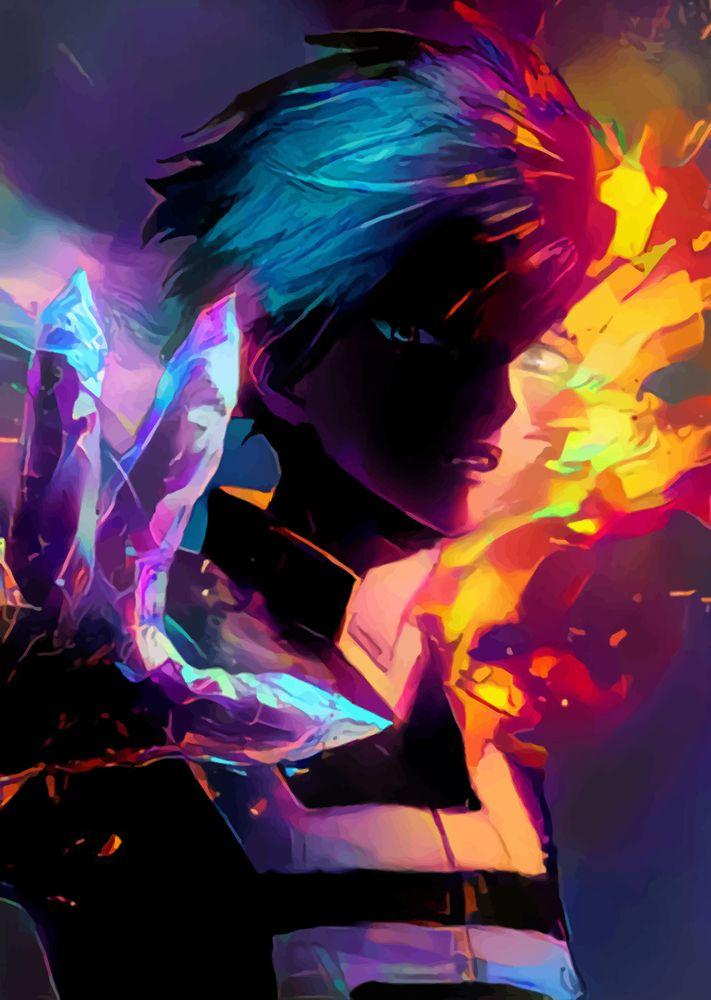 Neon Hot Cold Art Print By Hustlart X Small My Hero Academia Episodes My Hero Academia Manga My Hero Academia Shouto