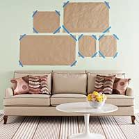 Great idea to plan out your art wall. Use paper and painter's tape to organize a layout. via: http://www.bhg.com/rooms/living-room/makeovers/living-room-art/: Decor, Painters Tape, Ideas, Hanging Pictures, Paper Templates, Frames, Galleries Wall, Photo Wall, Nails