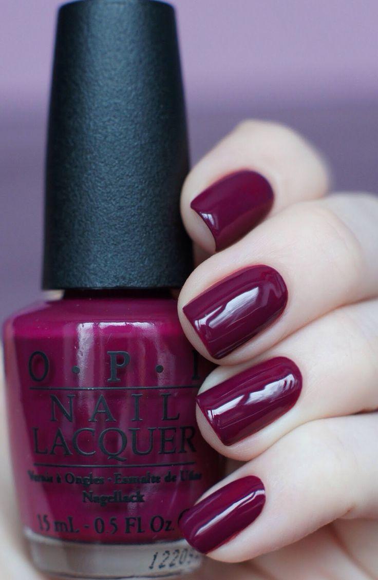 O.P. nails in maroon raspberry #nails #beautiful #fall