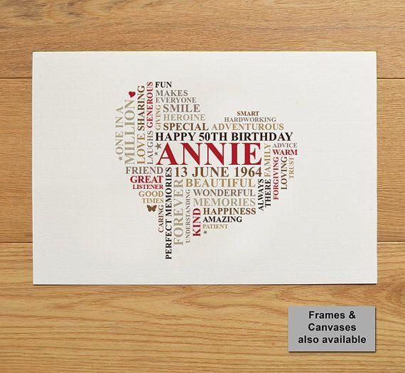 Impression personnalisée anniversaire. 21e, 30e, 40e, 50e, 60e, 70e 80e mot unique art cadeau. Conception de coeur.