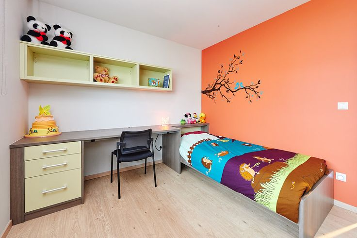 Kids room color and custom made bureau and bed