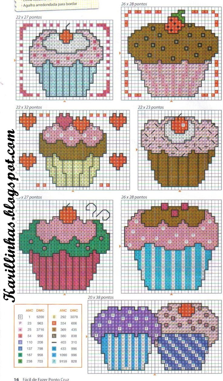 Cupcakes cross-stitch chart