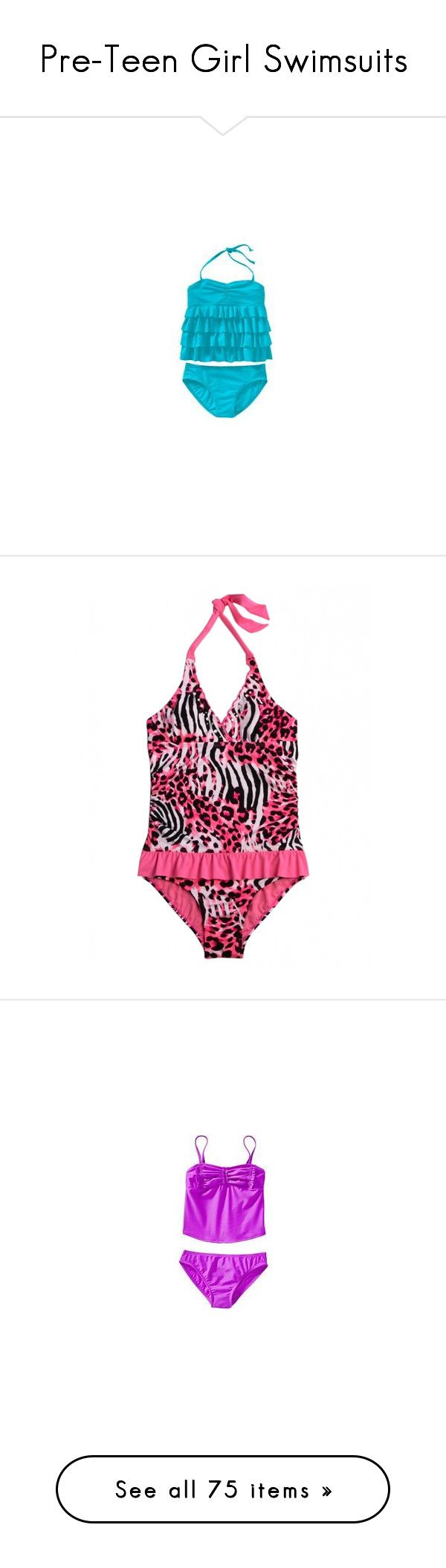 """Pre-Teen Girl Swimsuits"" by theneverlanders ❤ liked on Polyvore featuring swim, swimwear, girls, little girls, swimsuit complete, kids, kids clothes, one-piece swimsuits, sports swimsuit y striped swimsuit"