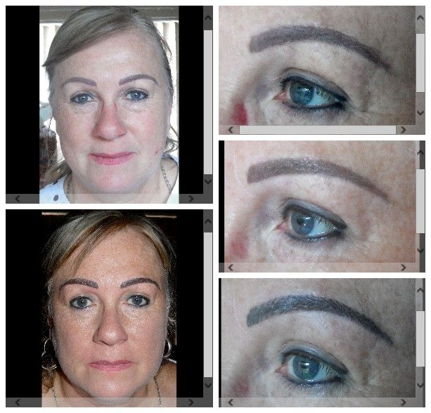 Correction of eyeliner, eyebrow colour & shape & added hairstrokes. Vandrbijlpark - Marié Holtzhausen 083 692 2207