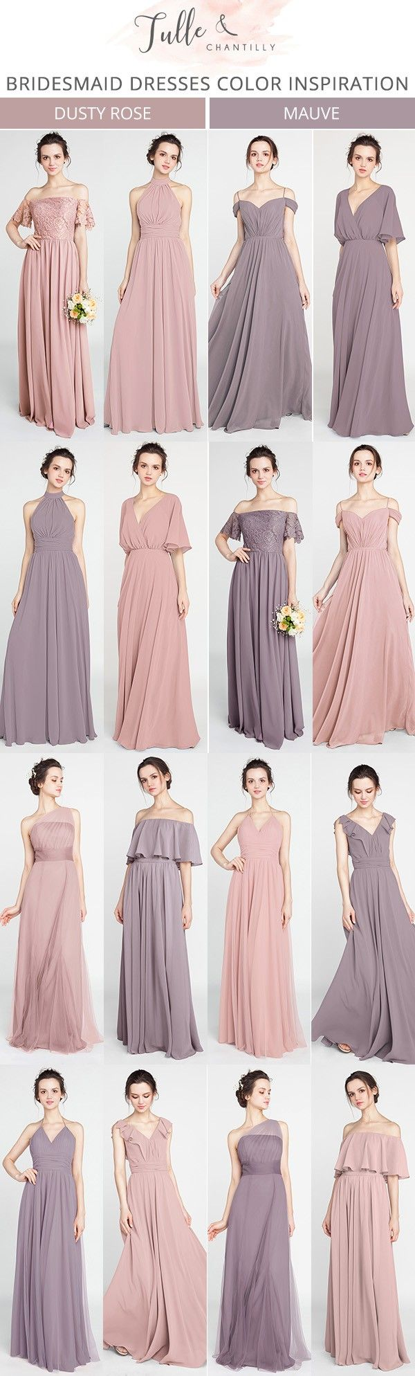 dusty rose and mauve bridesmaid dresses for 2018 #wedding #bridalparty #bridesmaiddress
