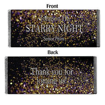 Personalized candy bar for a stary night themed prom