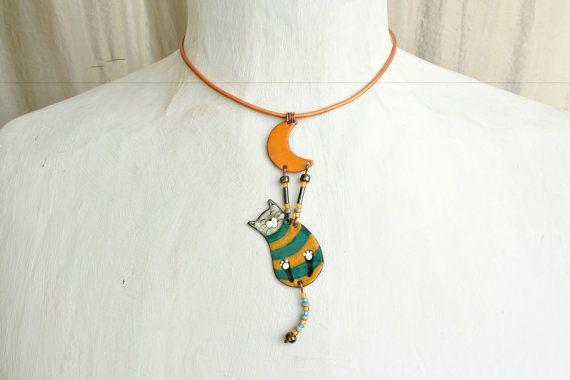 Colgante, collar de esmalte, George del esmalte, joyería, colgante de gato, gato, collar de esmalte Boho, gato en forma de joyas, collar de Boho, del esmalte