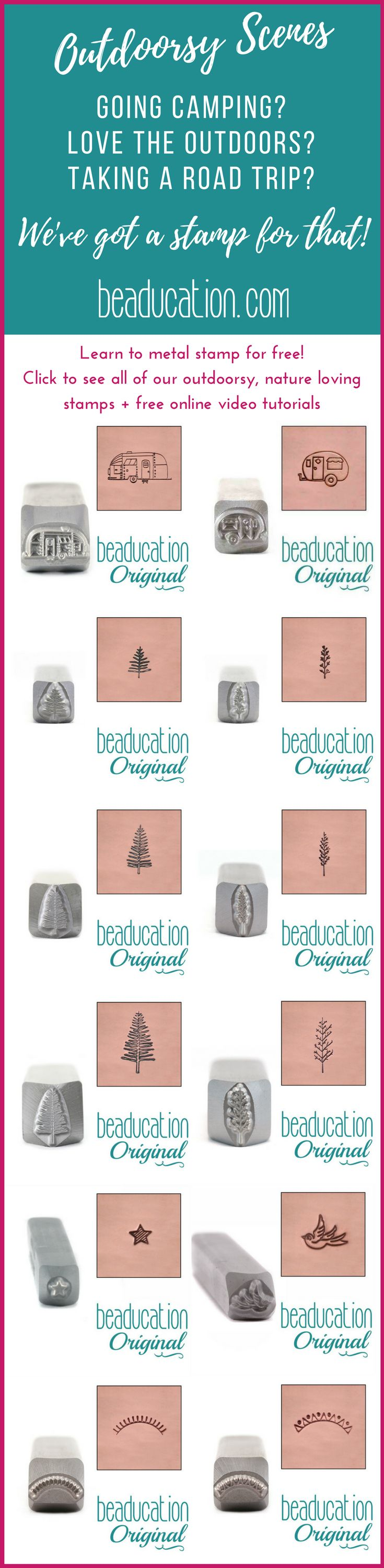 If you love the outdoors, are a nature lover or are taking a camping or road trip, our metal design stamps / punches are perfect for making your own custom diy jewelry to gift, wear or sell. See all of the plus our free classes when you click the link!