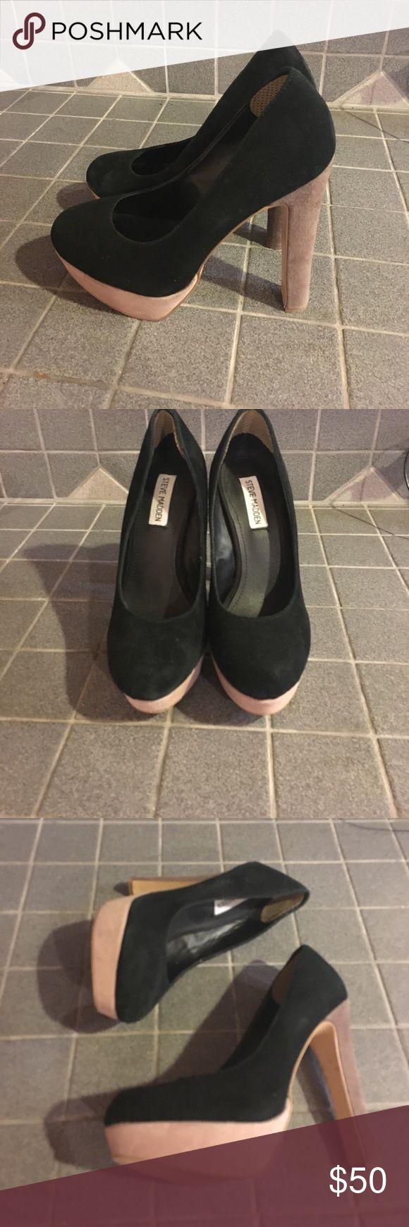 Black/grey/tan color block Steve Madden pumps Pick up these stylish heels by Steve Madden for a great price! The black, grey and tan color block makes them look great with many outfits. Rarely used and stored in a pet and smoke free home. Steve Madden Shoes Heels