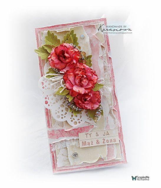 ScrapAndMe: Kartka ślubna z różami