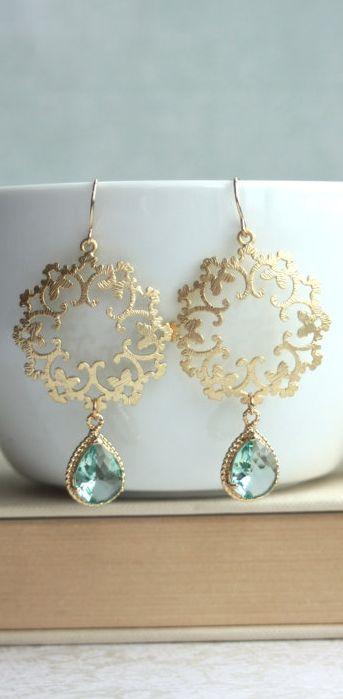 Jeweled gold earrings