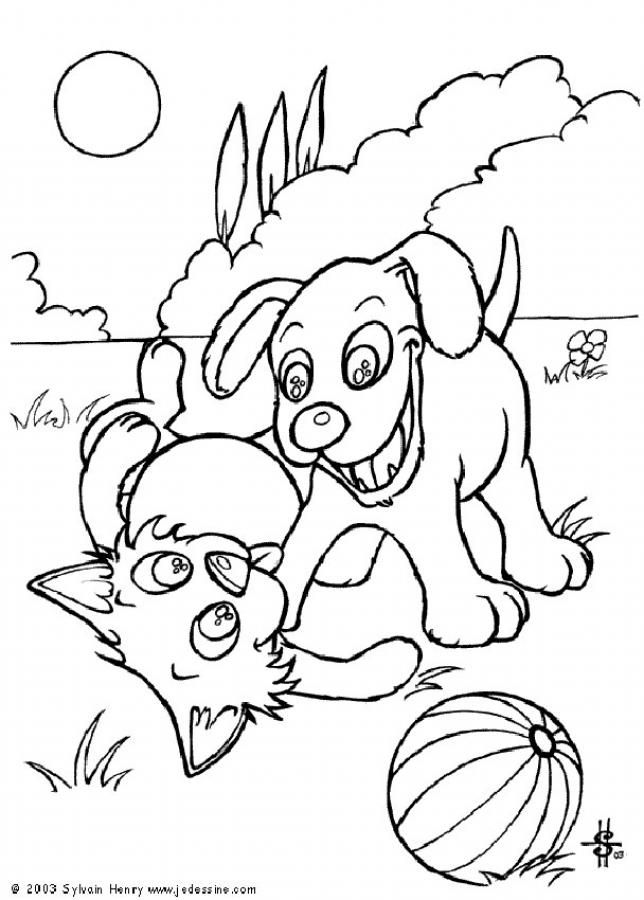 Dog And Cat With Ball Coloring Page Nice Dog Drawing For Kids