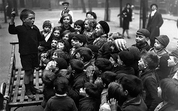 Youth Meeting, May 9, 1932 Children from the East End of London hold a meeting to discuss their day in the countryside, for which the Hoxton Market Mission is organising an appeal fund. Long-gone East End London - Telegraph
