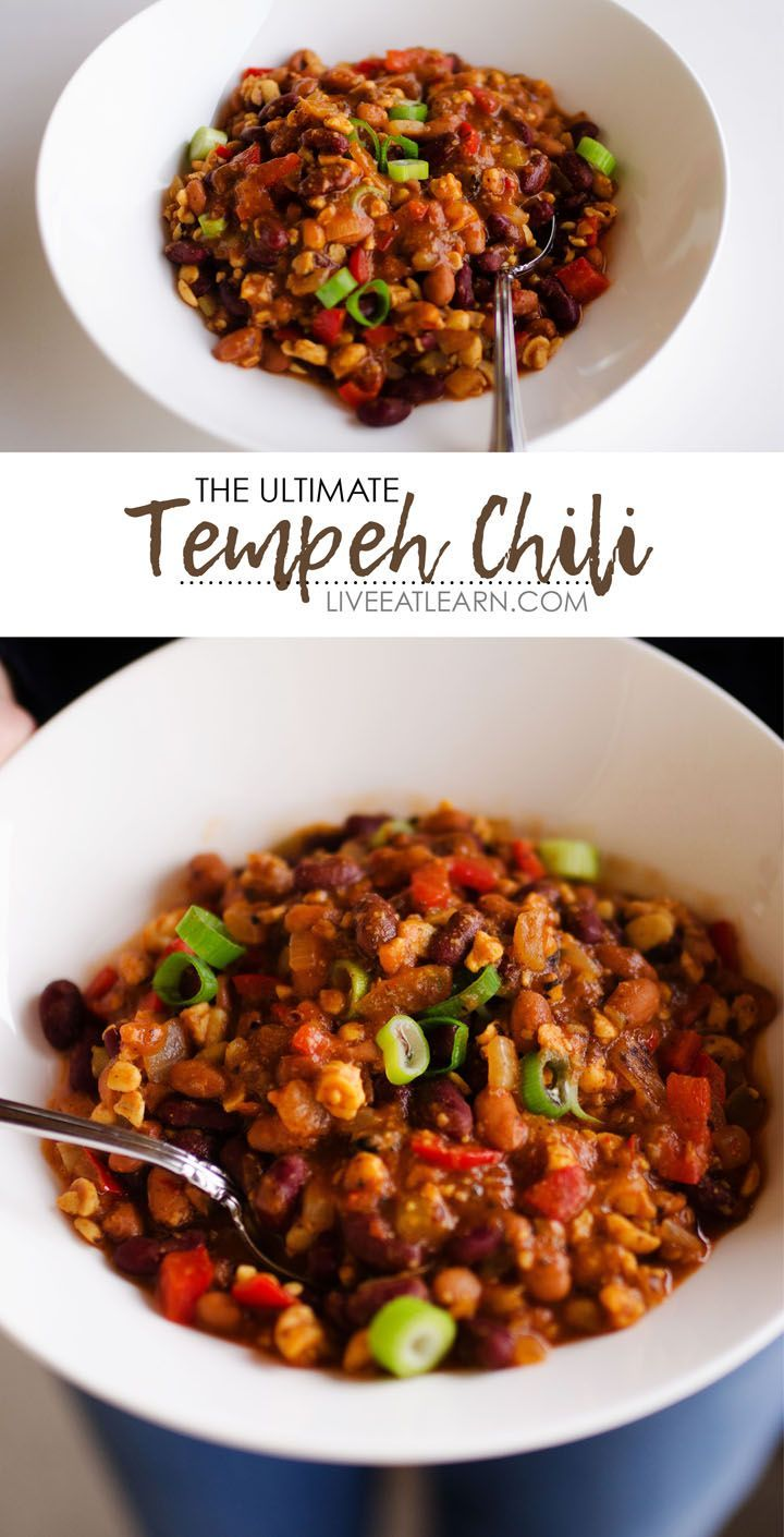 This healthy Vegan Tempeh Chili soup recipe will warm your bones with delicious plant-based protein this winter (and it's a meal in under 30 minutes!) It's packed with nutrients, fresh vegetables, and flavor that will make your whole family fall in love with this winter dinner recipe. // Live Eat Learn
