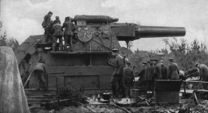 "Big Bertha (German: Dicke Bertha)—literal translation ""Fat or heavy Bertha""—is the name of a type of super-heavy mortar developed by the armaments manufacturer Krupp in Germany on the eve of World War I. Its official designation was the L/12, i.e., the barrel was 12 calibre in length, 42-cm (16.5 inch) Type M-Gerät 14 (M-Equipment 1914) Kurze Marine-Kanone (""short naval gun"", a name intended to camouflage the weapon's real purpose"