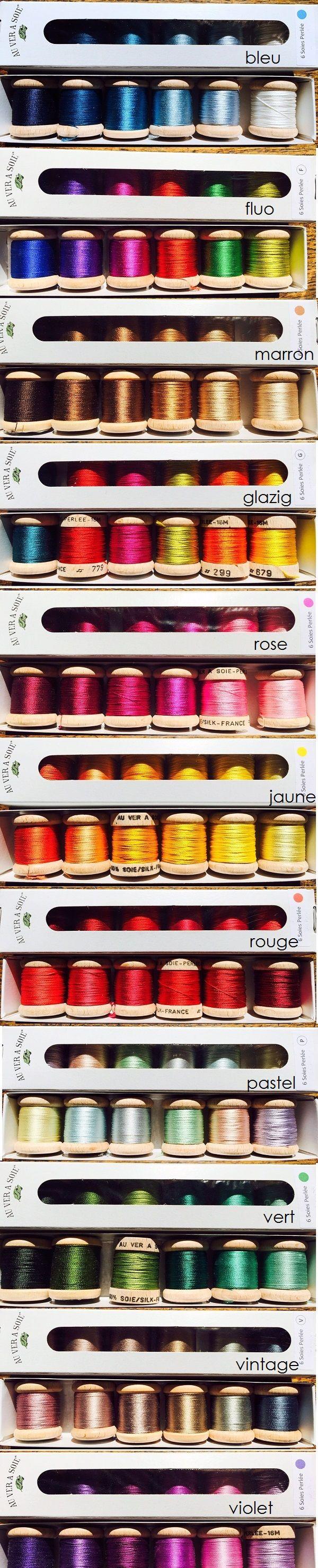 """De nieuwe 6 klosjes kits """"Soie Perlée"""" van Au Ver a Soie. Zijn deze niet prachtig? The new 6 spools kits Soie Perlée from Au Ver a Soie. Aren't they gorgous?"""