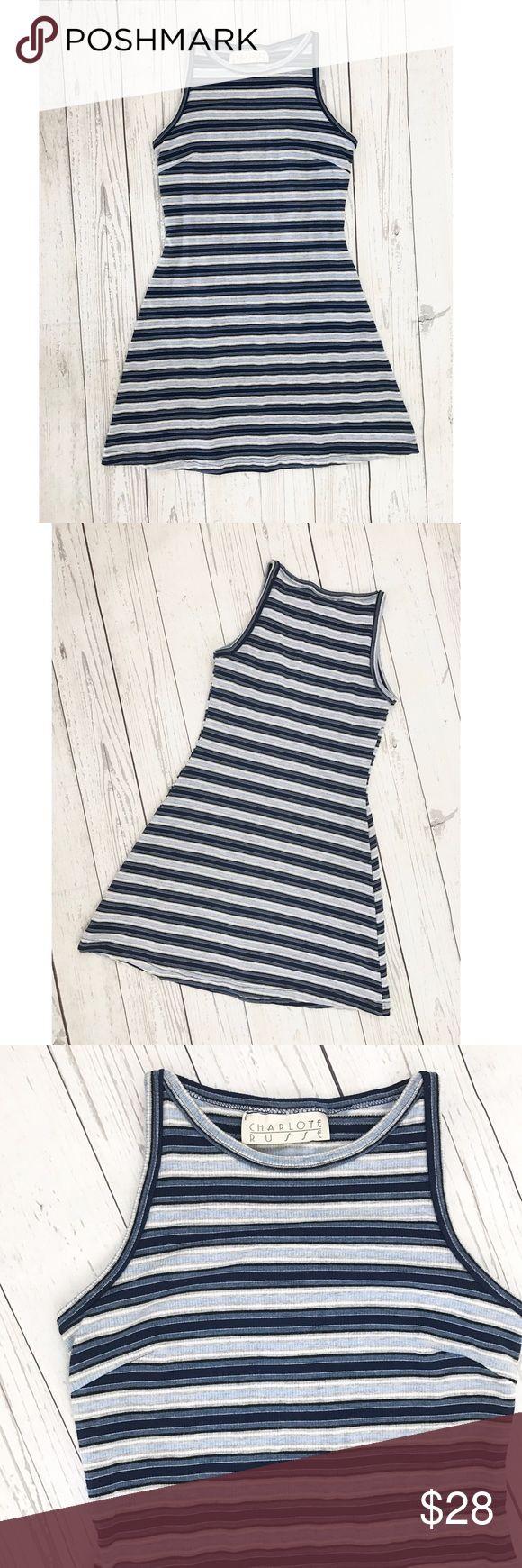 Vintage Dress Striped stretchy mini dress. So cute!stripes are navy blue, powder blue, grey and silver. Vintage Dresses Mini