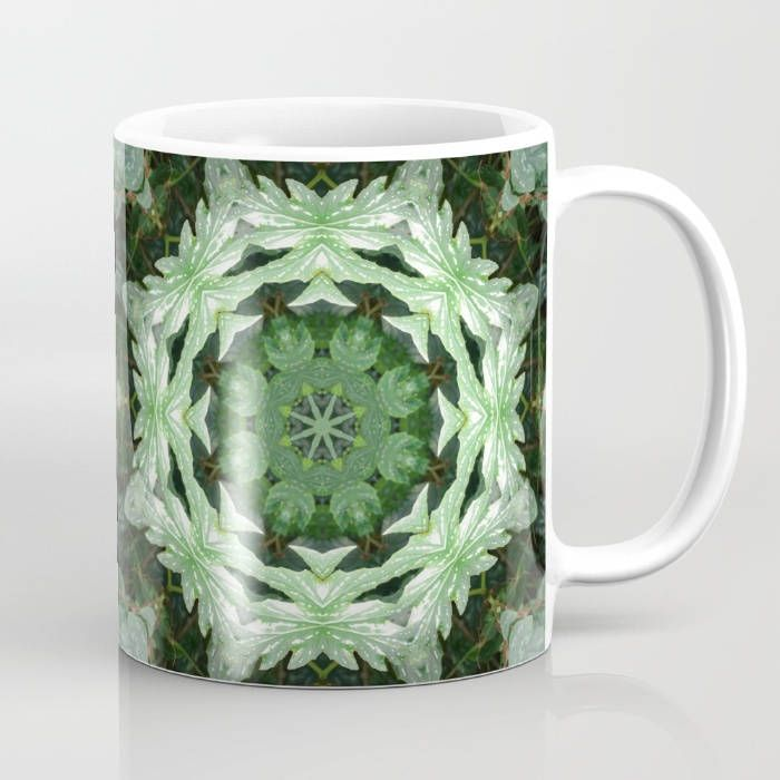 11 oz ceramic mug, Tropical Twist Kaleidoscope, color photograph of green and variegated leaves, Olbrich, Madison, coffee, cocoa or tea mug by RVJamesDesigns on Etsy