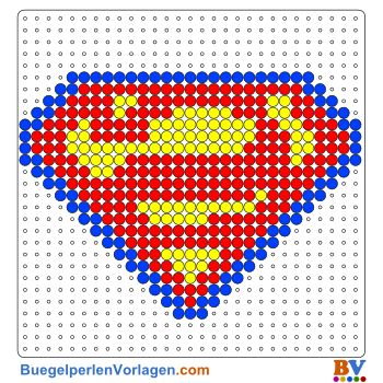 Superman Schild Bügelperlen Vorlage. Auf buegelperlenvorlagen.com kannst du eine große Auswahl an Bügelperlen Vorlagen in PDF Format kostenlos herunterladen und ausdrucken.
